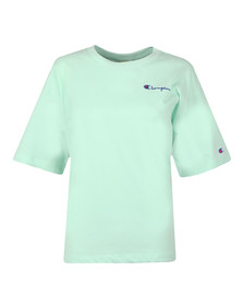 Champion Womens Green Small Script Logo Cropped T Shirt