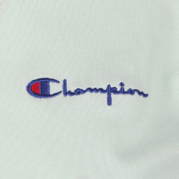Champion Reverse Weave Womens Green Small Script Logo Cropped T Shirt main image