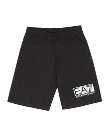 EA7 Emporio Armani Boys Black Rubber Logo Jersey Short