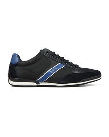 BOSS Mens Blue Athleisure Saturn Low Suede Mix Trainer