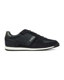 BOSS Mens Blue Athleisure Maze Low Suede Mix Trainer