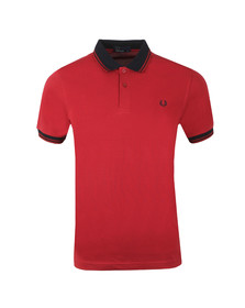 Fred Perry Mens Red Contrast Rib Pique Polo Shirt