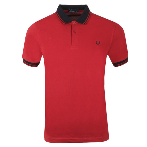 Fred Perry Mens Red Contrast Rib Pique Polo Shirt main image
