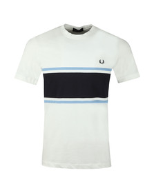 Fred Perry Mens White Colour Block Tee