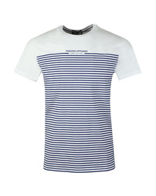 Weekend Offender Mens White Half Stripes T-Shirt