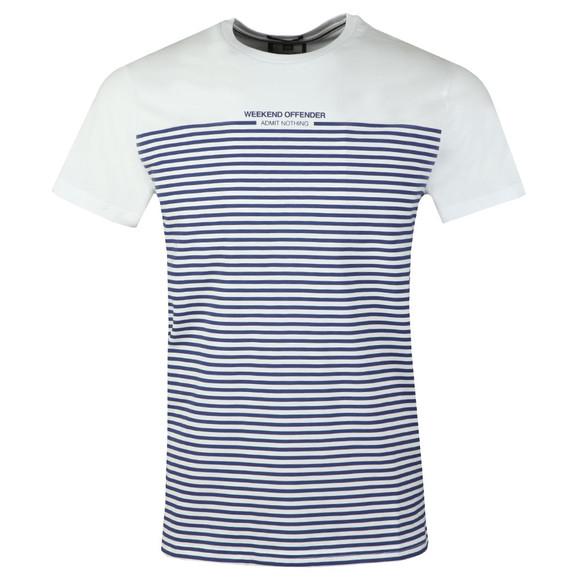 Weekend Offender Mens White Half Stripes T-Shirt main image
