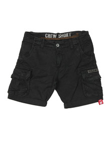 Alpha Industries Mens Black Crew Cargo Short