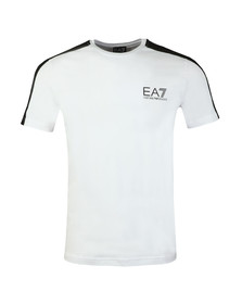 EA7 Emporio Armani Mens White Shoulder Detail T Shirt