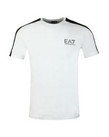 EA7 Emporio Armani Mens White Shoulder Detail T Shirt