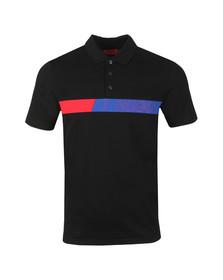 HUGO Mens Black Dantes Logo Artwork Polo Shirt