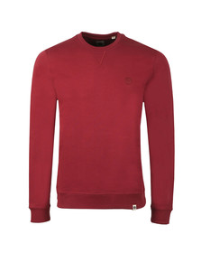 Pretty Green Mens Red Loopback Cotton Crew Neck Sweat