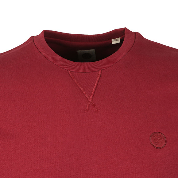 Pretty Green Mens Red Loopback Cotton Crew Neck Sweat main image