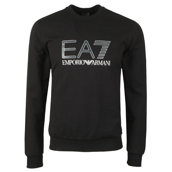 EA7 Emporio Armani Mens Black Large Metallic Logo Sweatshirt main image