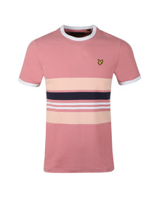 Lyle and Scott Mens Pink Stripe Ringer Tee