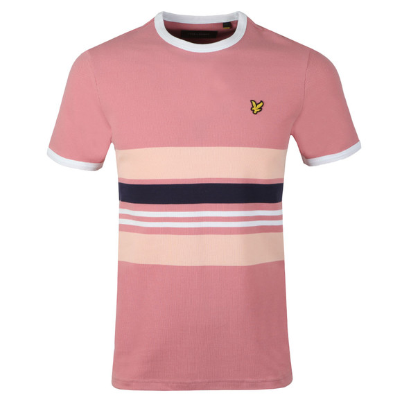 Lyle and Scott Mens Pink Stripe Ringer T-Shirt main image