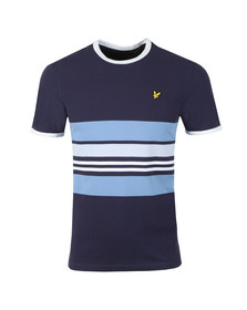 Lyle and Scott Mens Blue Stripe Ringer Tee