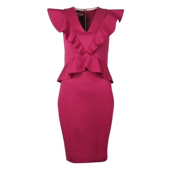 Ted Baker Womens Pink Alair Ruffle Peplum Bodycon Dress