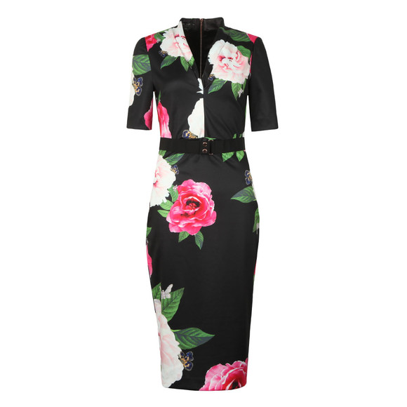 Ted Baker Womens Black Gilanno Magnificent V Neck Bodycon Dress main image