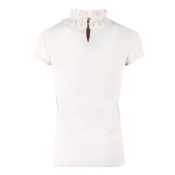 Ted Baker Womens Pink Nicohla Ruffle Neck Fitted Tee main image