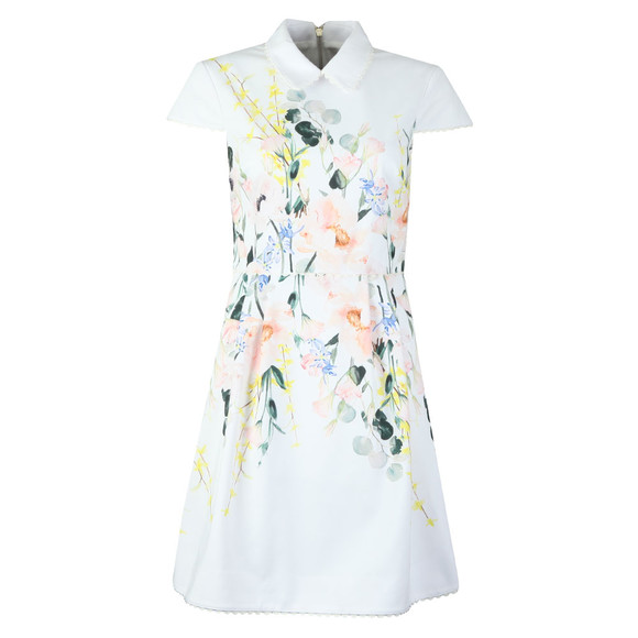 Ted Baker Womens White Charsy Elegance Scallop Ponte Dress main image