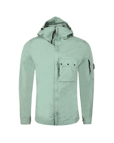 C.P. Company Mens Green Chest Pocket Cotton Hooded Overshirt
