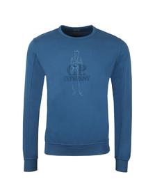 C.P. Company Mens Blue Embroidered Logo Sweatshirt
