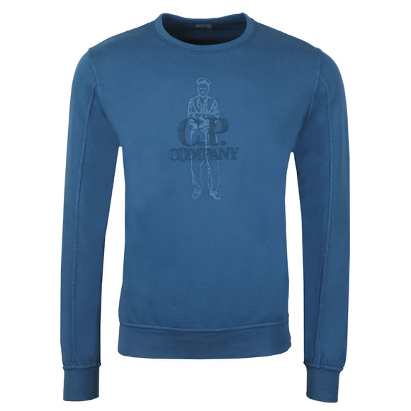 C.P. Company Mens Blue Embroidered Logo Sweatshirt main image