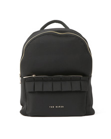 Ted Baker Womens Black Rresse Ruffle Detail Zip Backpack