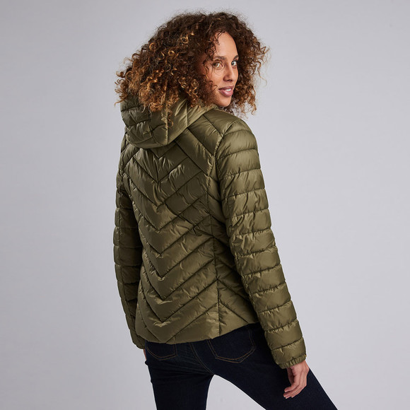 Barbour International Womens Green Durant Quilt Hooded Jacket main image