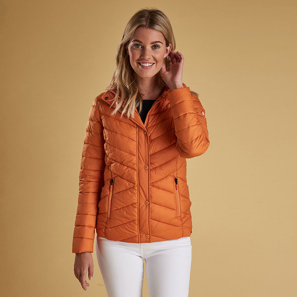 Barbour Lifestyle Womens Orange Isobath Quilted Jacket main image