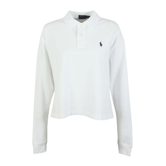 Polo Ralph Lauren Womens White Long Sleeve Cropped Polo Shirt