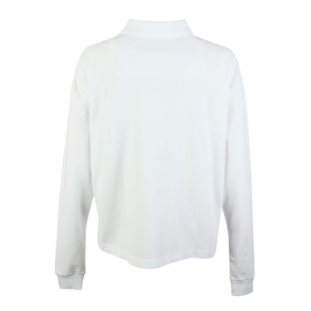 5e90861c Womens White Long Sleeve Cropped Polo Shirt