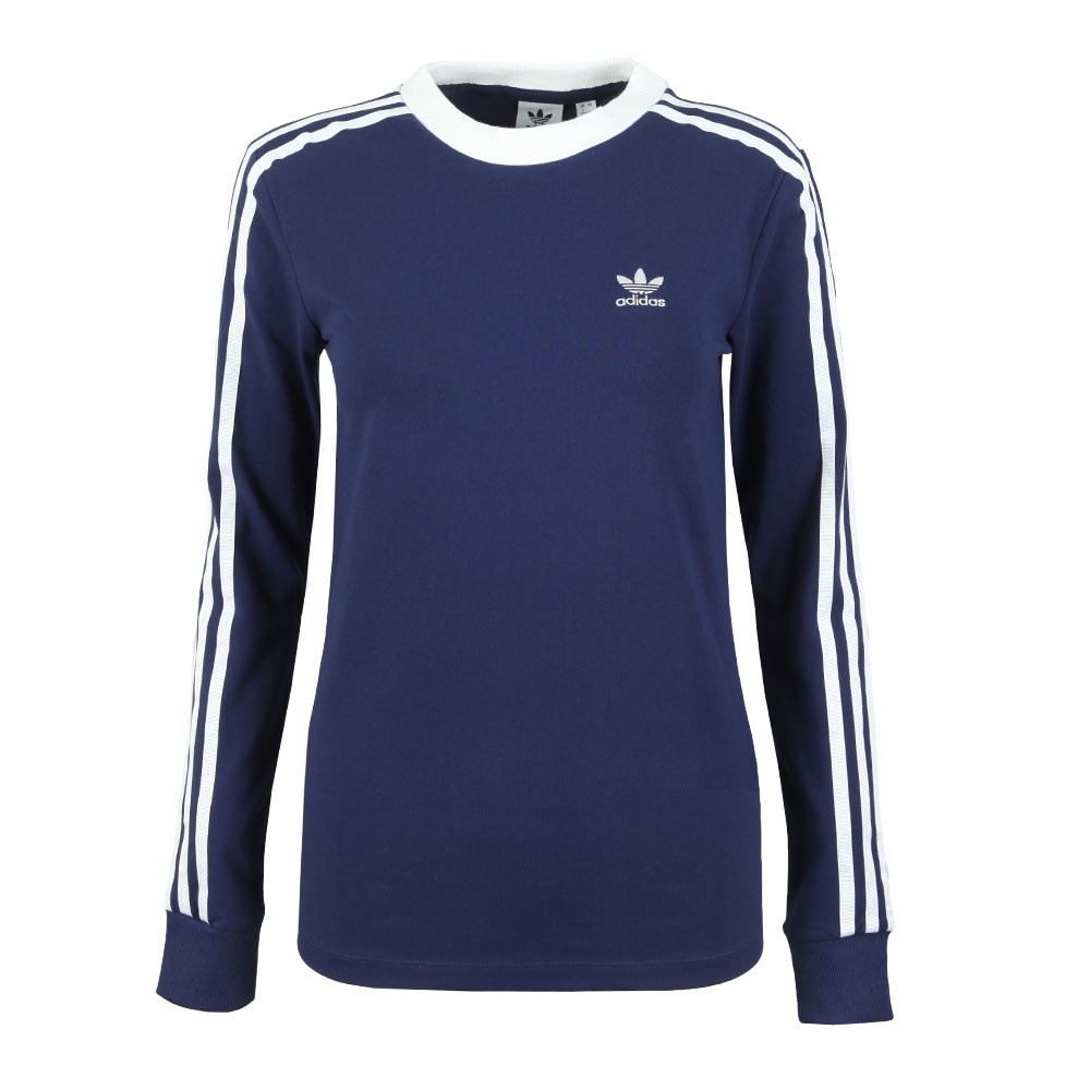 famous brand hot-selling latest enjoy discount price Womens Blue 3 Stripes Long Sleeve T Shirt