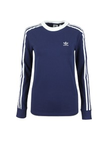 adidas Originals Womens Blue 3 Stripes Long Sleeve T Shirt