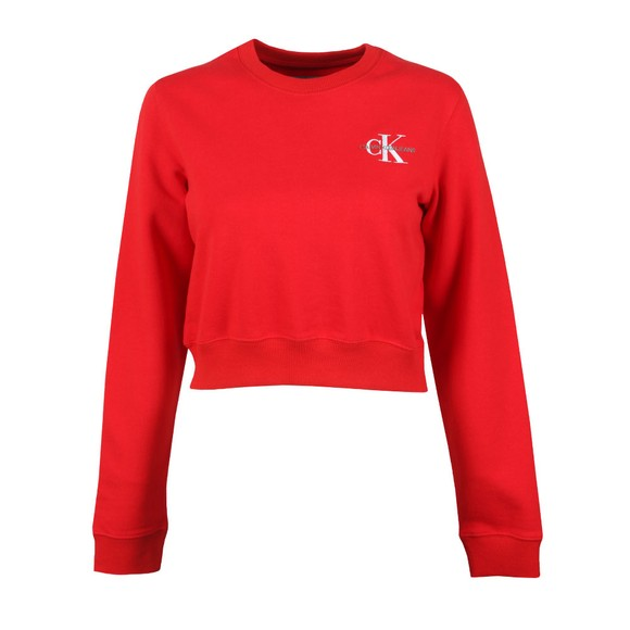 Calvin Klein Jeans Womens Red Cropped Embroidered Sweatshirt main image