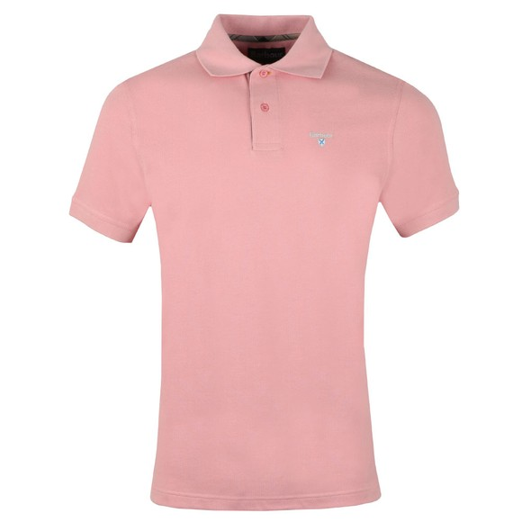 Barbour Lifestyle Mens Pink Tartan Pique Polo
