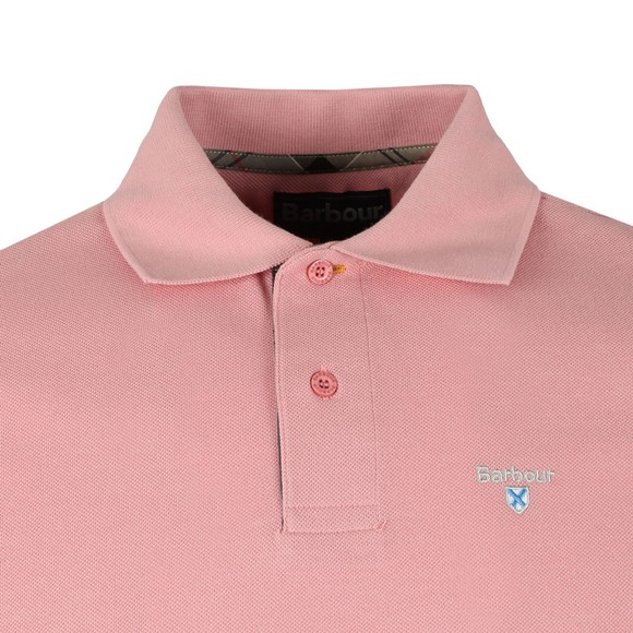 Barbour Lifestyle Mens Pink Tartan Pique Polo main image