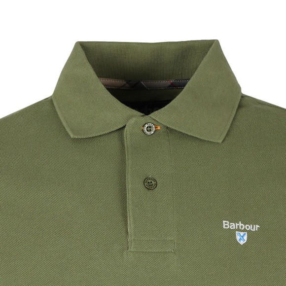 Barbour Lifestyle Mens Green Tartan Pique Polo Shirt main image