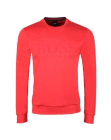 BOSS Mens Red Athleisure Salbo Crew Sweatshirt