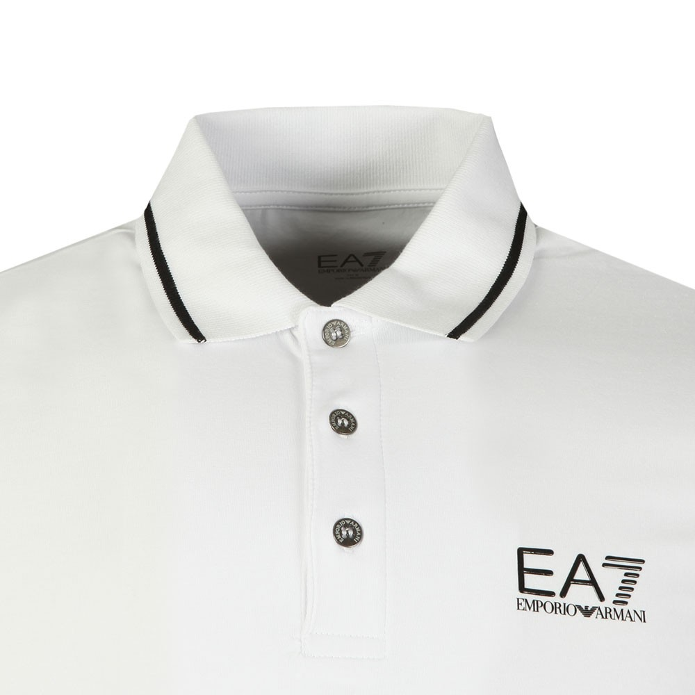 de68709a Mens White Small Rubber Logo Polo Shirt