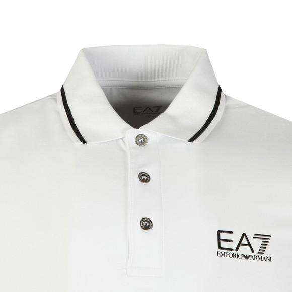 EA7 Emporio Armani Mens White Small Rubber Logo Polo Shirt main image