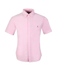 Polo Ralph Lauren Mens Pink Slim Fit Short Sleeve Oxford Shirt