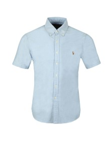 Polo Ralph Lauren Mens Blue Slim Fit Short Sleeve Oxford Shirt
