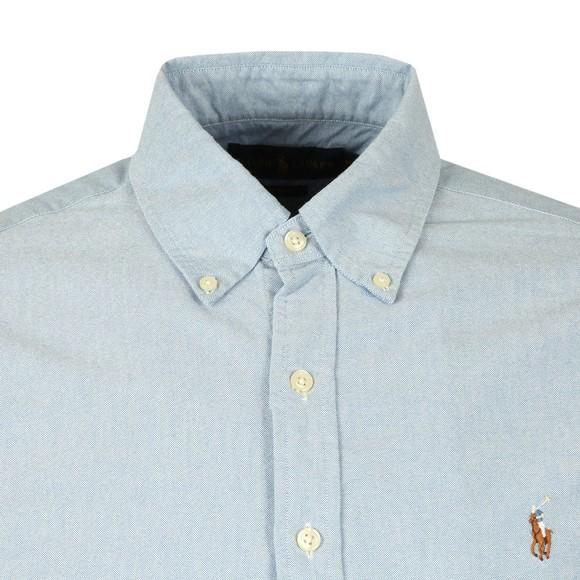 Polo Ralph Lauren Mens Blue Slim Fit Short Sleeve Oxford Shirt