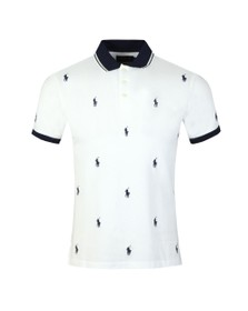 Polo Ralph Lauren Mens White All Over Player Logo Polo Shirt