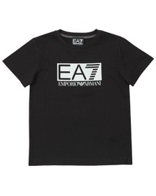 EA7 Emporio Armani Boys Black Large Rubber Logo T Shirt