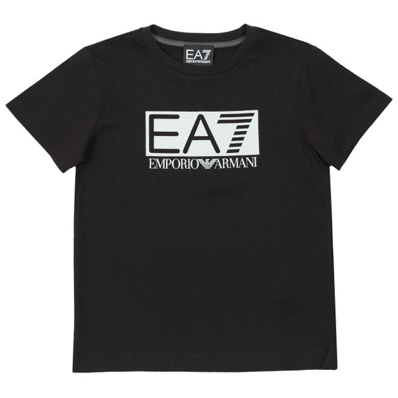 EA7 Emporio Armani Boys Black Large Rubber Logo T Shirt main image