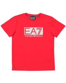 EA7 Emporio Armani Boys Red Large Rubber Logo T Shirt