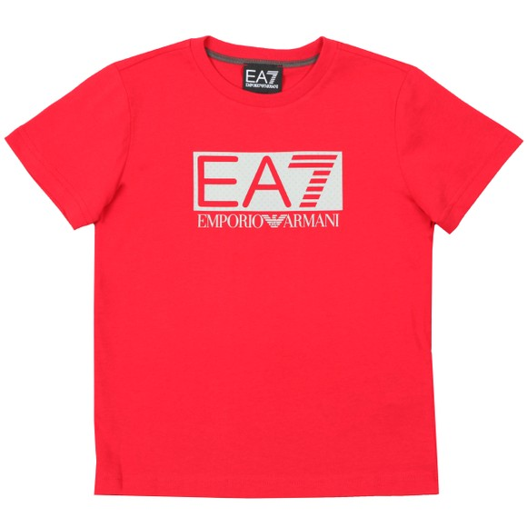 EA7 Emporio Armani Boys Red Large Rubber Logo T Shirt main image