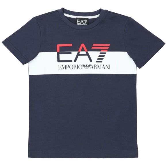 EA7 Emporio Armani Boys Blue Split Logo T Shirt main image